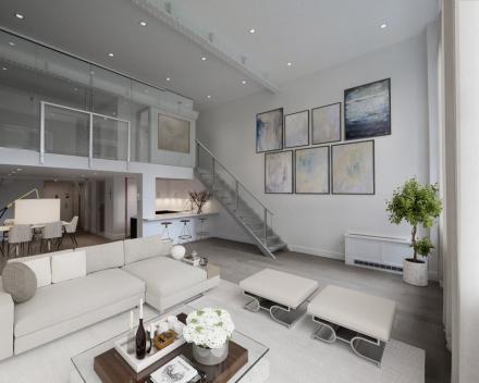 Verlichte trap in appartement op Grammercy Park